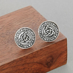 Nodic-Runes-Earrings-Viking-Amulet-Antique-Silver-Triquetra-Symbol-Stud-Earring