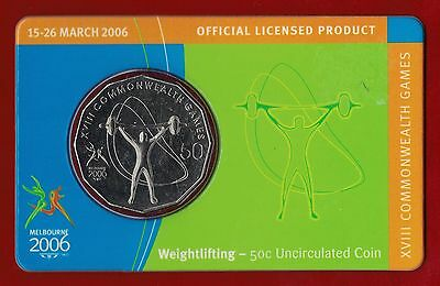 2006 Melbourne XVIII Commonwealth Games 50c Uncirculated Coin Weightlifting