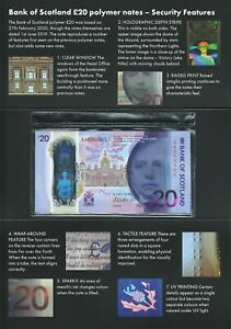 Scotland (Bank of Scotland) two 20 Pound notes issued in 2020 in Folder LIMITED