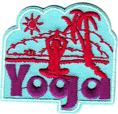 """""""YOGA"""" w/PALM TREE & SUN - Iron On Embroidered Patch - Exercise,  Sports, Words"""