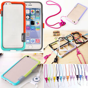 new concept d1017 2f42b Details about For iPhone6/ 6 Plus 6S Plus Silicone Soft Case Cover Holder  Sling Neck Strap US