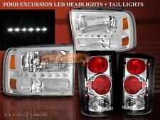 2000 - 2004 FORD EXCURSION CHROME CLEAR LED HEADLIGHTS AND TAIL LIGHTS COMBO