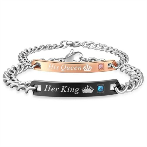 Titane Acier son et sien Lovers correspondant à sa reine son roi Couple Bracelet