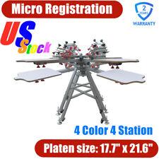 Pick Up Micro Registration 4 Color 4 Station Silk Screen Printing Press Machine