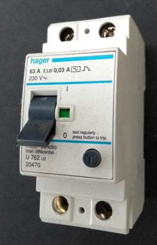 RCD  63 Amp 30mA 2 Pole  List No U762U2   BS4293 HAGER  RCCB Live Tested !