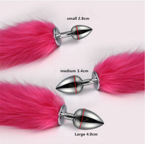 Rosered Fake Fox Tail With Stainless Steel Plug Romance Game Toy Cosplay