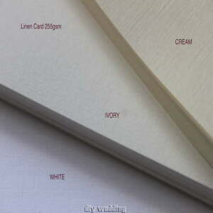 10-A4-sheets-of-Linen-card-Ivory-Cream-or-White-255gsm-Printable-craft-card