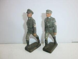 Konvolut-2-alte-Lineol-Massesoldaten-mit-Schirmmuetze-Arbeitsdienst-zu-7-5cm