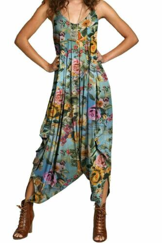 WVJ Womens Ladies V-neck Summer Beach Harem Jumpsuit Printed Lagenlook Dress