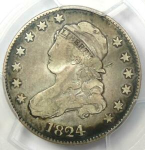 1824/2 Capped Bust Quarter 25C - Certified PCGS VF Details - Rare Date Coin!
