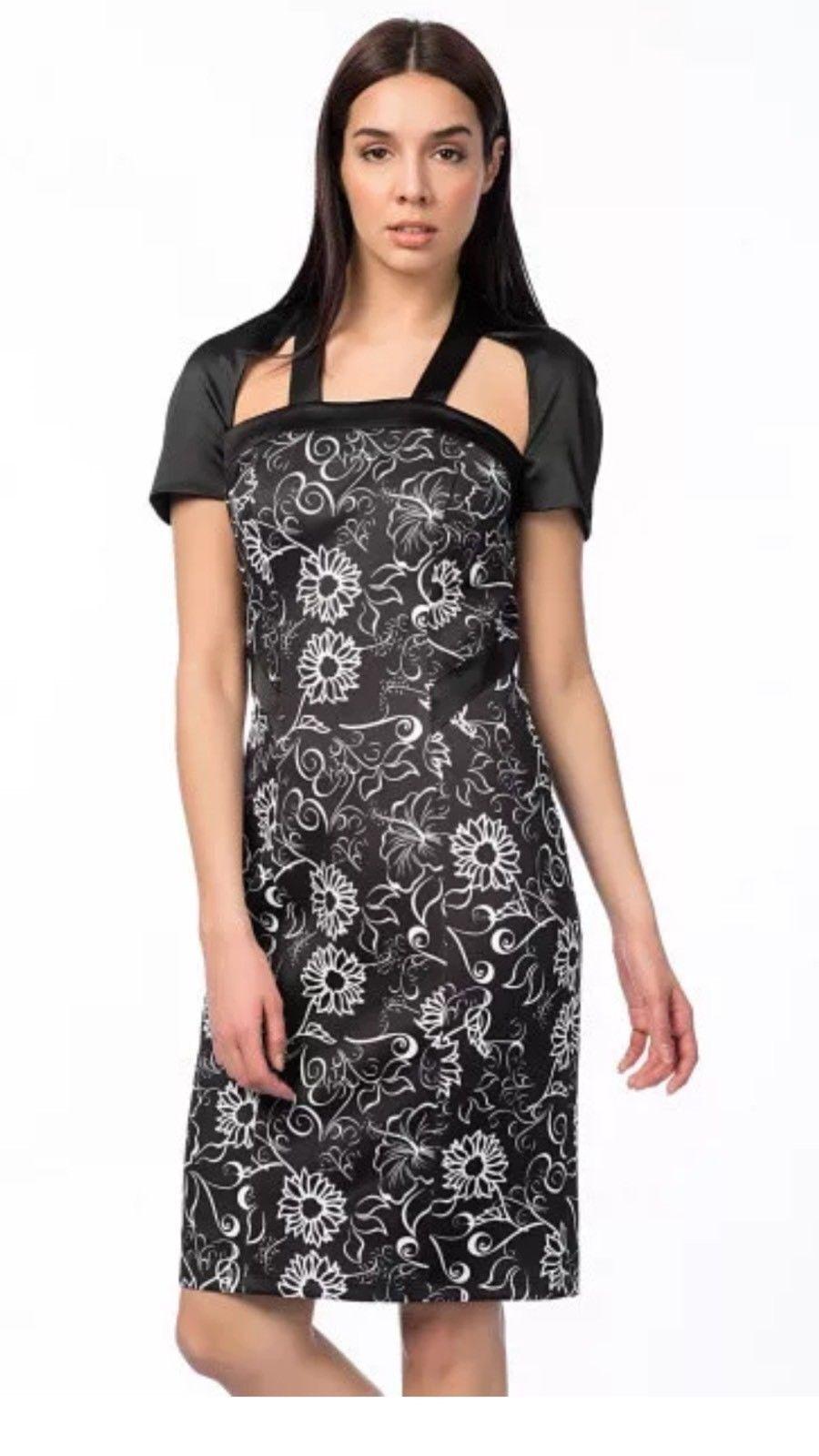 Versace 1969 schwarz floral mix stretch Pencil Party Dress Größe IT38 UK10 RRP