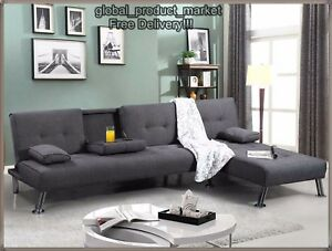 Image Is Loading Large Corner Sofa Bed 4 Seat Grey Settee