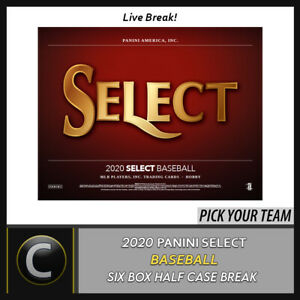 2020 PANINI SELECT BASEBALL 6 BOX (HALF CASE) BREAK #A813 - PICK YOUR TEAM