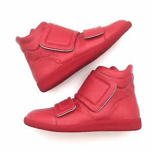 NWT-780-Maison-Margiela-Mens-Red-Double-Strap-Future-Leather-Sneakers-AUTHENTIC
