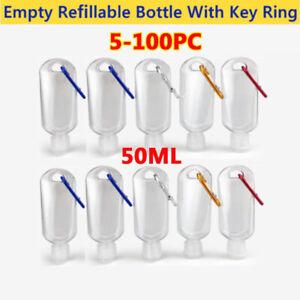 100X Empty Travel Bottles With Belt Clip Hook Refillable Sanitizer Split Bottles