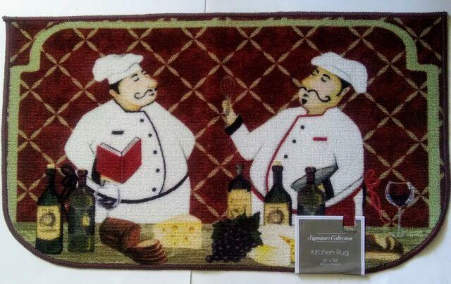 Kitchen Long Rug Bon Appetit Bistro Chubby Fat Chef Home Italian Wine Decor For Sale Online Ebay