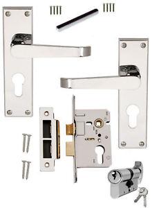 Details about Chrome Straight Euro Lever Lock Door Handles+64mm Euro  Sashlock 70mmCylinderTurn