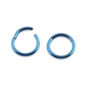 18G-16G-14G-Blue-Color-HINGED-Segment-Nose-Ring-Septum-Clicker-Daith-Hoop