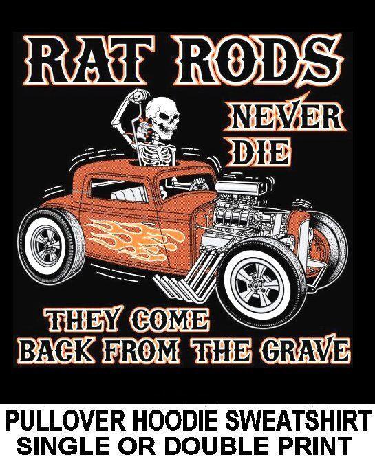 OLD SCHOOL MUSCLE RAT HOT ROD OUTLAW SKELETON RACE CAR SKULL HOODIE SWEATSHIRT