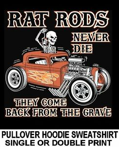 Old School Muscle American Rattitude Hotrod Car Garage Hoodie Pullover