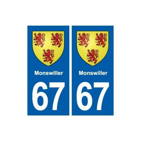 67 Monswiller blason autocollant plaque stickers ville -  Angles : droits
