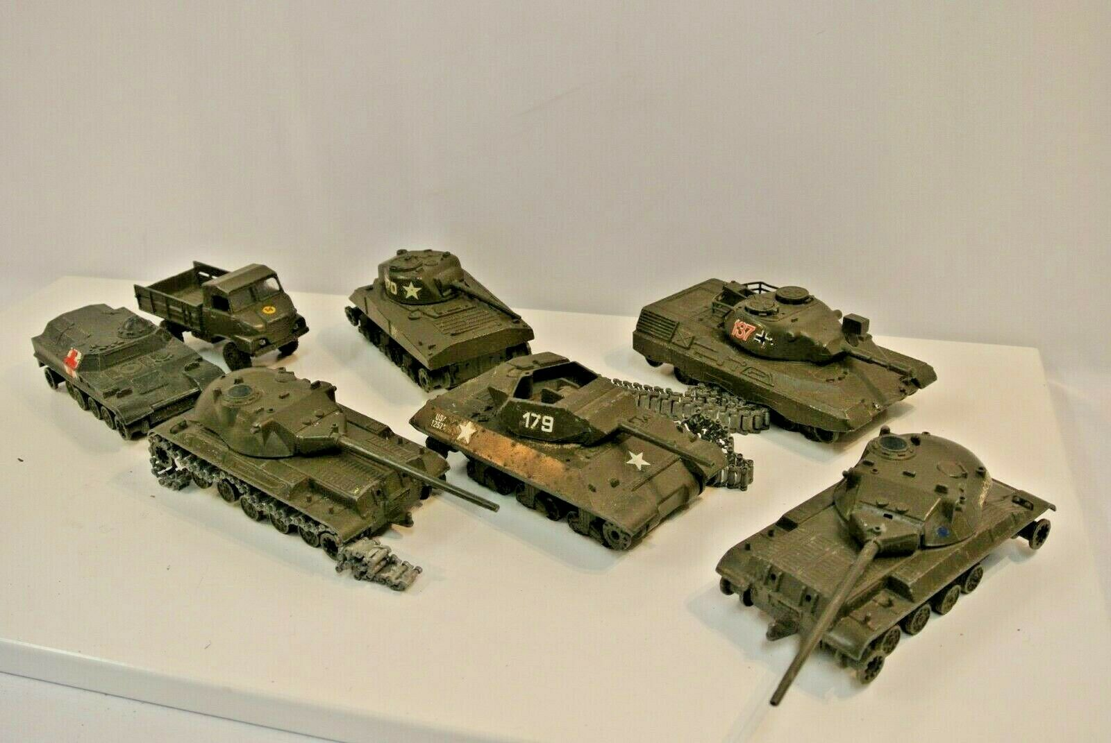 Solido Military Tanks Lot of 7 1960s VTG Sherman KPZ Leopard AMX Destroyer Simca
