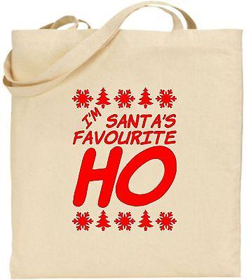 I'm Santa's Lieblings Ho Groß Baumwolltasche Einkaufstasche Spaß Geheim