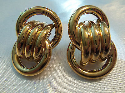AWESOME Design ULTRA CHUNKY Goldtone Circular CHAIN LINKS Style Earrings 13EE122