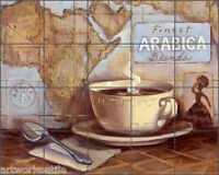 Ceramic Tile Mural Backsplash Kasun Coffee Kitchen Art 21.25 X 17 - Ec-tk003