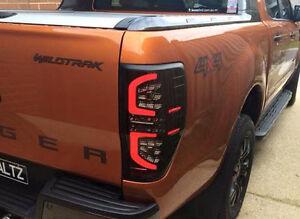 Led Black Smoke Tail Light Lamp Rear Ford Ranger T6 Xlt Px