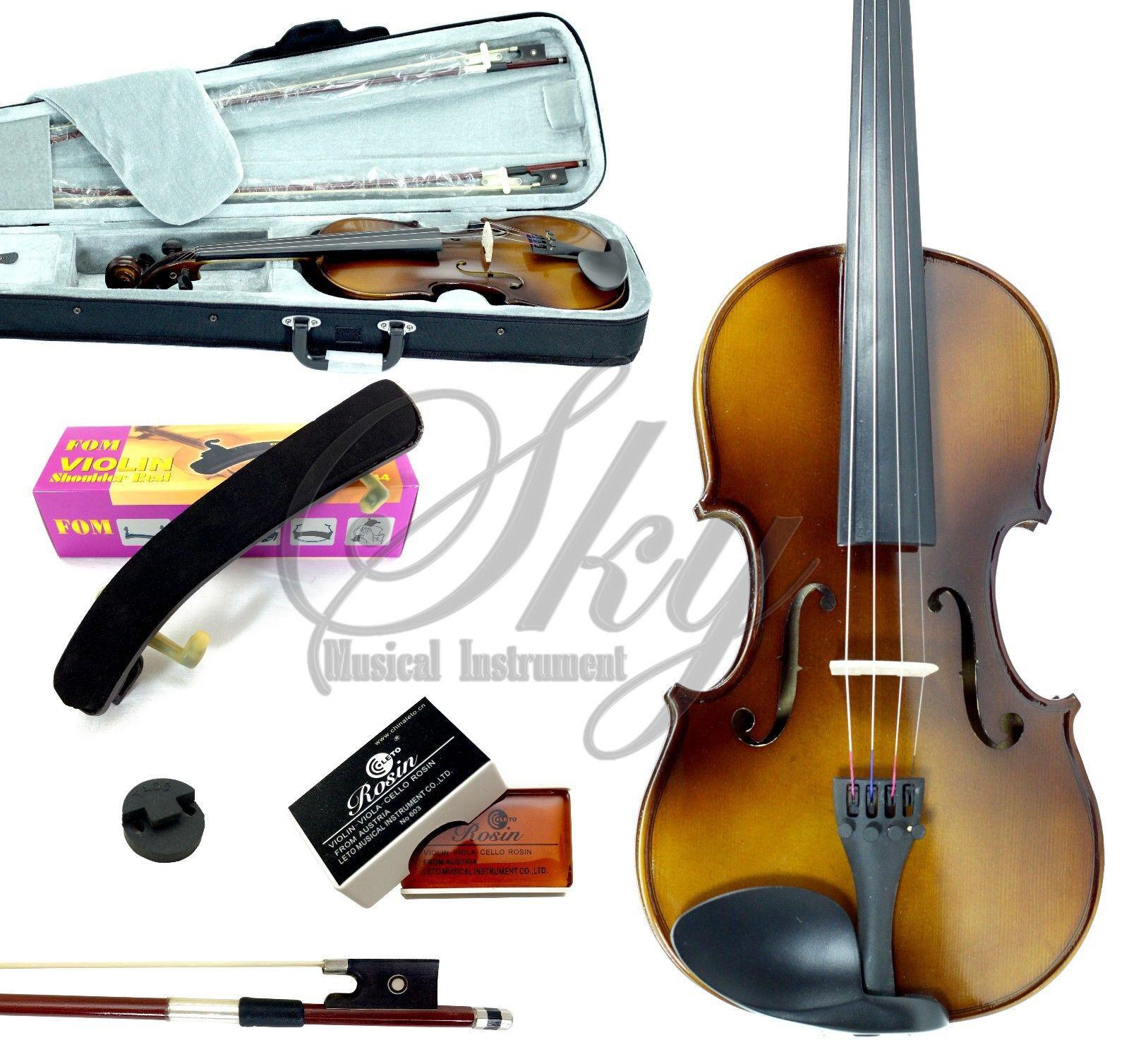 1 4 Größe Violin w Case Bow Shoulder Rest, Mute GREAT GIFT PACKAGE