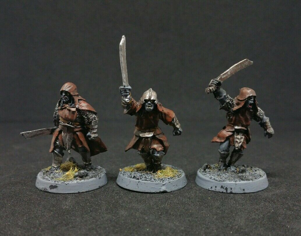 3 x rot Eye Uruk-hai Warriors with swords Pro painted LOTR The Hobbit Rare OOP
