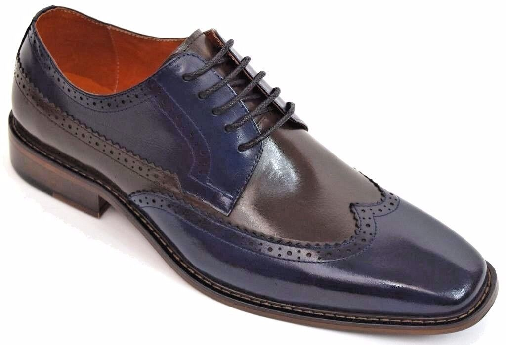rivenditori online Uomo Dress scarpe Navy Marrone Wing Tip Oxford Leather Lace Lace Lace Up Steven Land SL0007  goditi il ​​50% di sconto