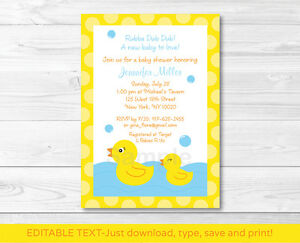 photograph regarding Rubber Ducky Printable known as Facts more than Lil Rubber Ducky Printable Little one Shower Invitation Editable PDF