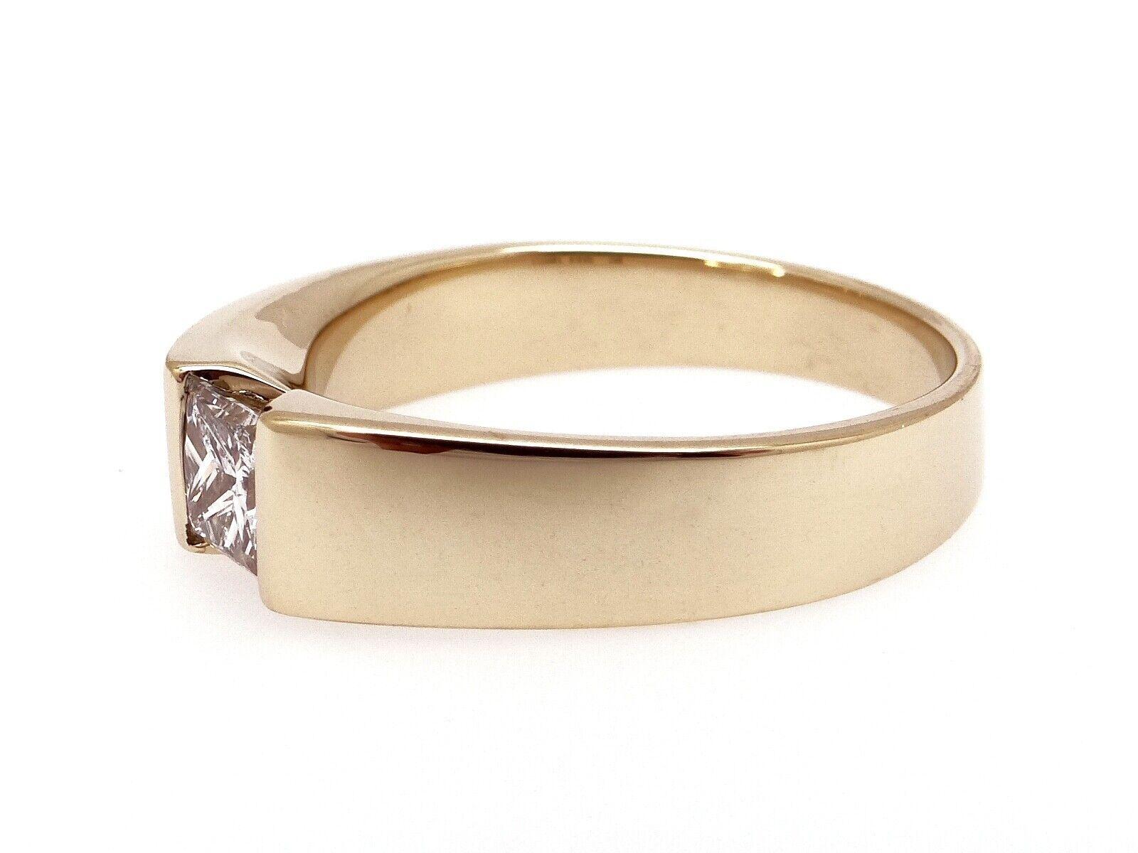 Unisex 14k Yellow Gold .54ct Princess Cut Diamond… - image 2