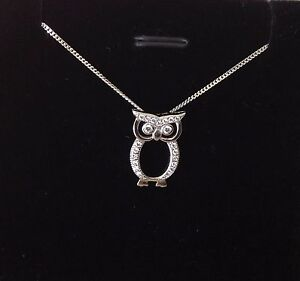 925 sterling silver owl pendant necklace chain cz uk seller ebay image is loading 925 sterling silver owl pendant necklace chain cz mozeypictures Image collections