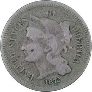 1872 Three Cent Piece AG About Good Nickel 3c US Type Coin Collectible