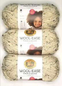 Lion-Brand-WOOL-EASE-THICK-amp-QUICK-Yarn-Oatmeal-BIG-SKEIN-Bonus-Bundle-Lot-of-3