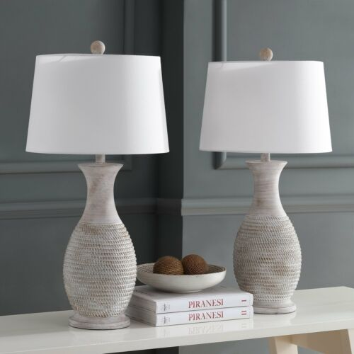 "Set Grey 15/""x15/""x30/"" Safavieh Lighting 30-inch Bentlee Grey LED Table Lamp"