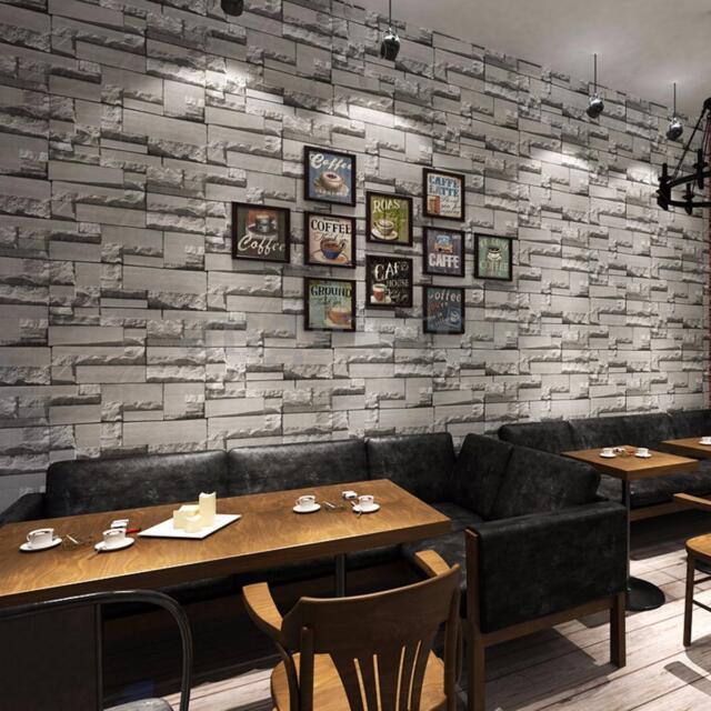 3D 10M Wallpaper Bedroom Mural Roll Modern Stone Brick Wall Background Textured
