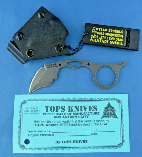 TOPS Quickie 3-finger Karambit Knife w/Kydex Sheath 1095 Carbon Steel USA