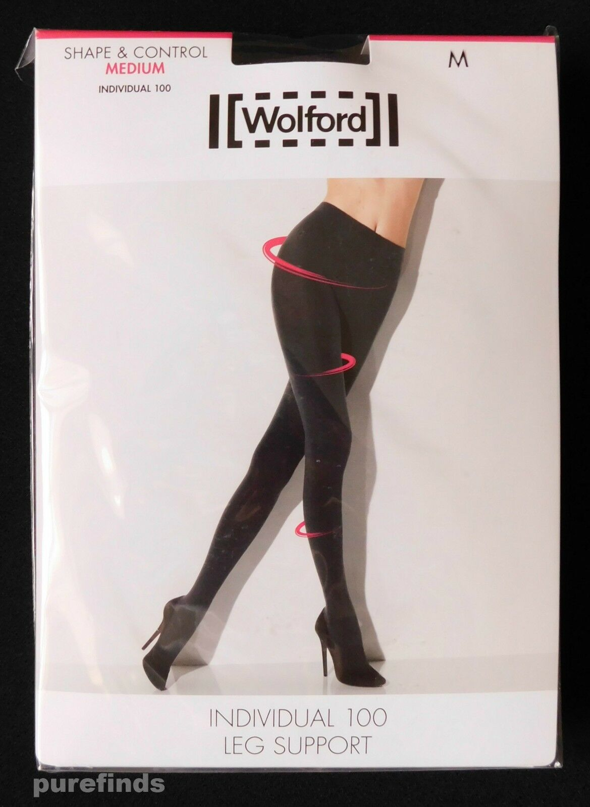 Wolford Individual 100 leg support tights, Medium, Raven, Shape & Control Medium