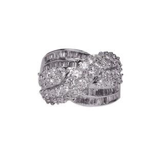 EG-Shiny-Cross-Rhinestone-Wedding-Ring-Women-039-s-Silver-Bridal-Party-Jewelry-Late