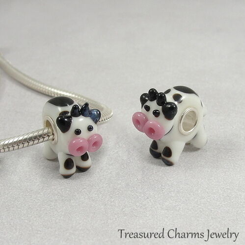 Cow Lampwork Glass Large Hole Bead Charm fits European Bracelets