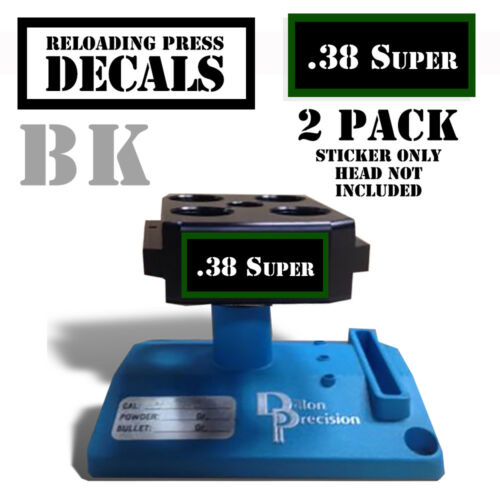 """38 Super Reloading Press DECALS Ammo LABELS 1.95/"""" x .87/"""" STICKERS 2 Pack BLK//GRN"""