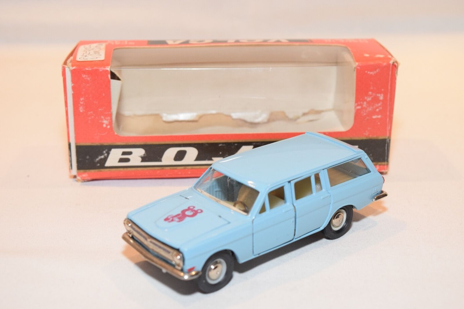 RUSSIAN CAR USSR CCCP A13 VOLGA GAZ 24 MOSCOW OLYMPIC BEAR blueE MINT BOXED RARE