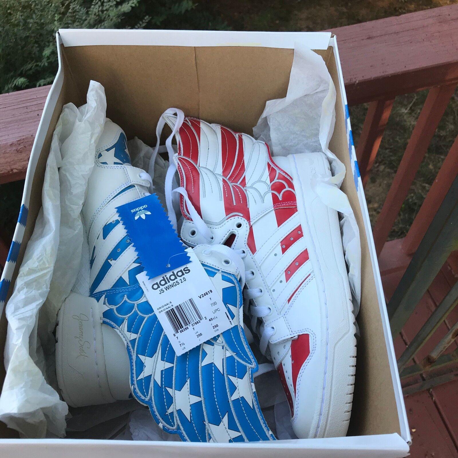Auténtico tamaño 7.5 Adidas 2.0 Jeremy Scott Wings 2.0 Adidas US Flag Estrellas Y Tiras V24619 a127d4