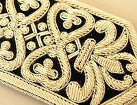 Hand-Embroidered Silver Applique on Black Exceptional Stitching Moghul Design