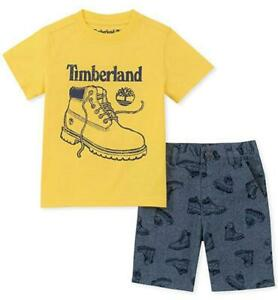 Timberland Boys Yellow Top & Blue Short Set Size 2T 3T 4T 4