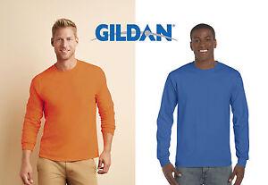 GILDAN-UOMO-maglietta-MANICHE-LUNGHE-COTONE-T-shirt-con-POLSINI-in-19-colori